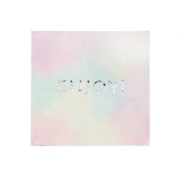 Pastel Enjoy Paper Napkins -  pack of 16